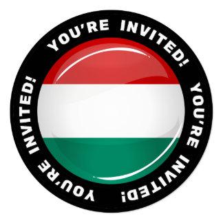Bandeira húngara redonda lustrosa convite quadrado 13.35 x 13.35cm