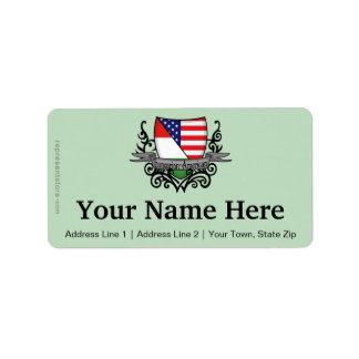 Bandeira Húngaro-Americana do protetor Etiqueta De Endereço