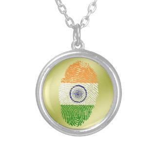 Bandeira indiana da impressão digital do toque colar com pendente redondo