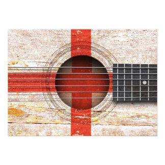 Bandeira inglesa na guitarra acústica velha convites