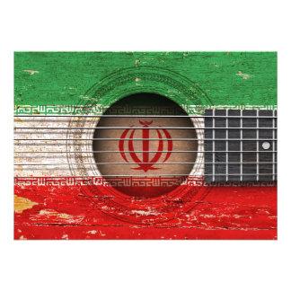 Bandeira iraniana na guitarra acústica velha convites personalizados