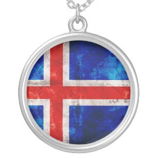 Bandeira islandêsa colar com pendente redondo