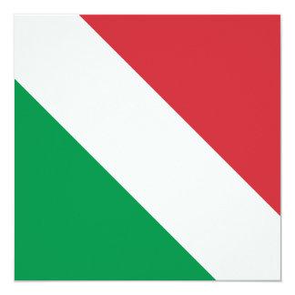 Bandeira italiana convite quadrado 13.35 x 13.35cm