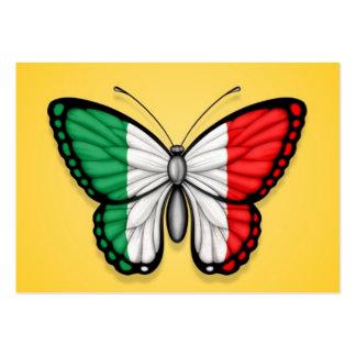 Bandeira italiana da borboleta no amarelo cartoes de visitas