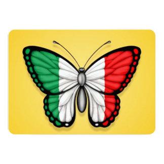Bandeira italiana da borboleta no amarelo convite