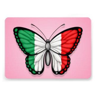 Bandeira italiana da borboleta no rosa convites personalizado