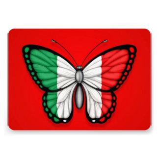Bandeira italiana da borboleta no vermelho convite personalizado