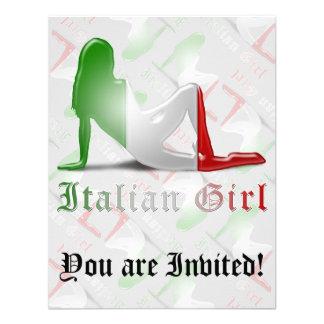 Bandeira italiana da silhueta da menina convites personalizados