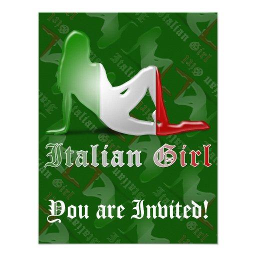 Bandeira italiana da silhueta da menina convites