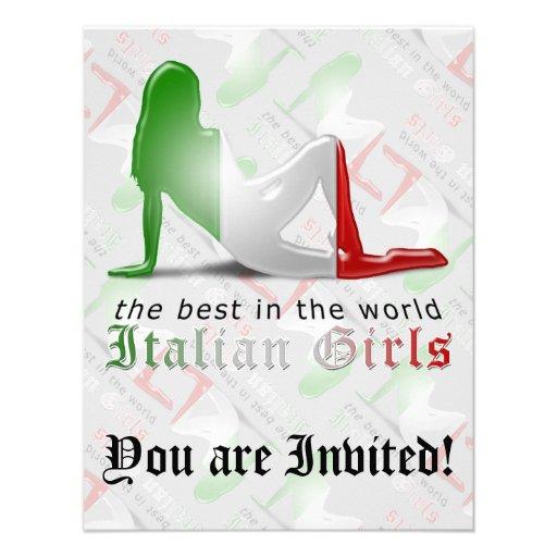 Bandeira italiana da silhueta da menina convites personalizado