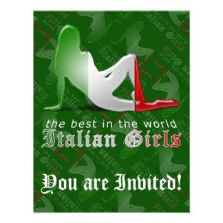 Bandeira italiana da silhueta da menina convite