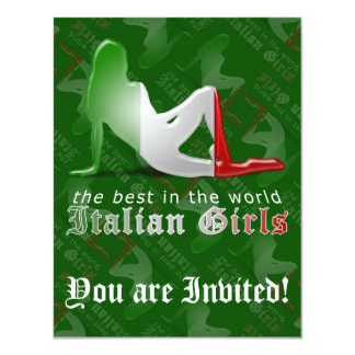 Bandeira italiana da silhueta da menina convite 10.79 x 13.97cm