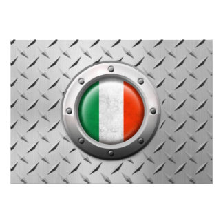 Bandeira italiana industrial com gráfico de aço convite personalizado