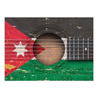 Bandeira jordana na guitarra acústica velha convite personalizado