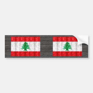 Bandeira libanesa de madeira adesivo para carro