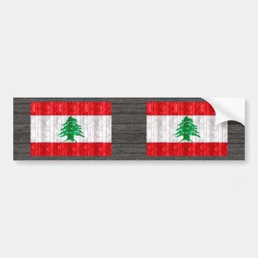 Bandeira libanesa de madeira adesivo