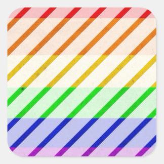 Bandeira listrada do orgulho gay adesivo quadrado