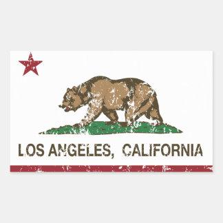 bandeira Los Angeles de Califórnia afligida Adesivo Retangular
