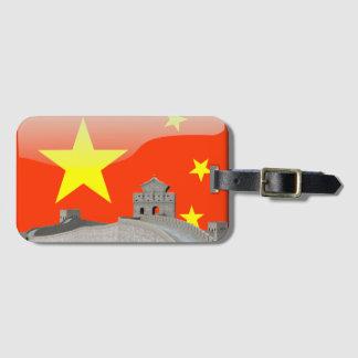 Bandeira lustrosa chinesa etiqueta de bagagem