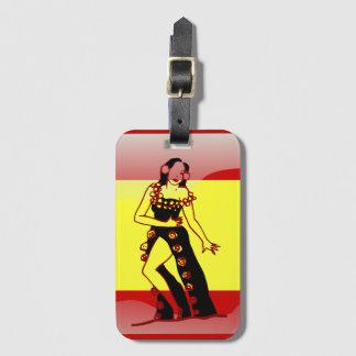Bandeira lustrosa espanhola etiqueta de bagagem