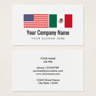 Bandeira mexicana americana inglesa espanhola do cartão de visitas