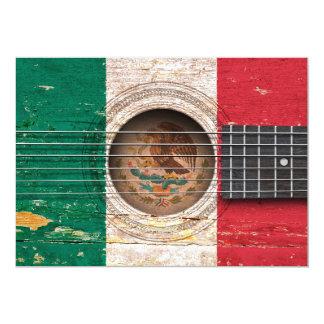 Bandeira mexicana na guitarra acústica velha convites personalizado
