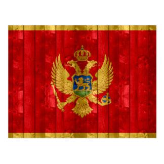 Bandeira montenegrina de madeira cartão postal