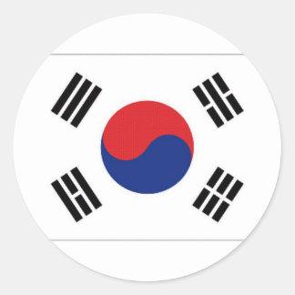 Bandeira nacional de Coreia do Sul Adesivo Em Formato Redondo