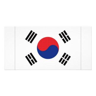 Bandeira nacional de Coreia do Sul Cartao Com Fotos Personalizado