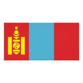 Bandeira nacional de Mongolia Cartao Com Fotos Personalizado