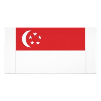 Bandeira nacional de Singapore Cartão Com Foto