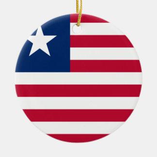 Bandeira nacional do mundo de Liberia Ornamento De Cerâmica