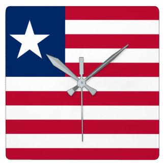 Bandeira nacional do mundo de Liberia Relógio Quadrado