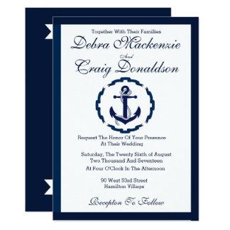 Cartão Bandeira náutica da âncora - convite do casamento