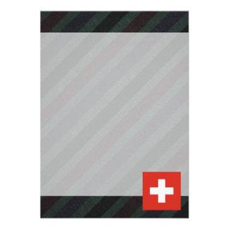 Bandeira oficial da suiça em listras convite 12.27 x 17.78cm