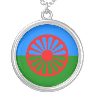 Bandeira oficial do cigano do Romani Colar Banhado A Prata