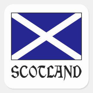 Bandeira & palavra de Scotland Adesivo Em Forma Quadrada