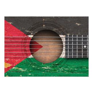 Bandeira palestina na guitarra acústica velha convites personalizados