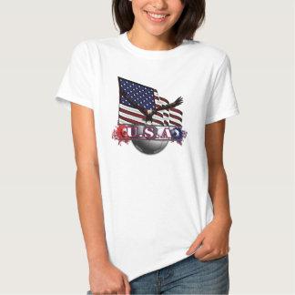 Bandeira patriótica & futebol dos EUA com Eagle Tshirt