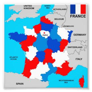 bandeira política do mapa do país de france impressão de foto