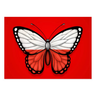 Bandeira polonesa da borboleta no vermelho cartoes de visita
