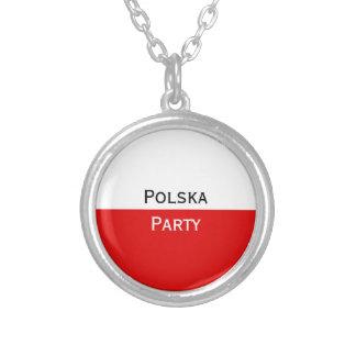 Bandeira polonesa de Polska Colar Banhado A Prata