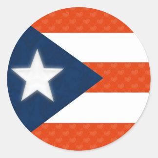 Bandeira porto-riquenha de corações listrados adesivo redondo