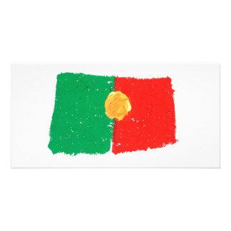 Bandeira portuguesa cartão com foto