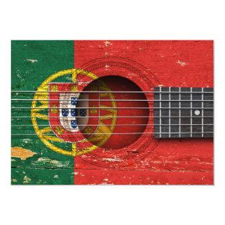 Bandeira portuguesa na guitarra acústica velha convites personalizado