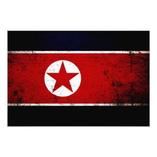 Bandeira preta 2 da Coreia do Norte do Grunge Foto Arte