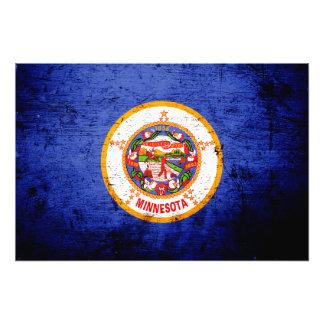 Bandeira preta do estado de Minnesota do Grunge Fotografia