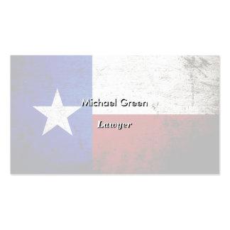 Bandeira preta do estado de Texas do Grunge Cartões De Visita