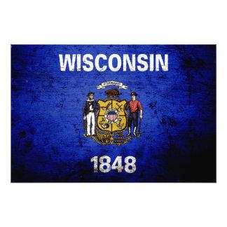 Bandeira preta do estado de Wisconsin do Grunge Fotografia