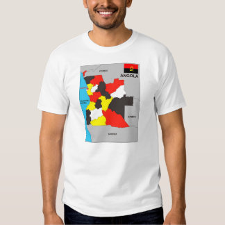 bandeira preta política do mapa do país de angola tshirts